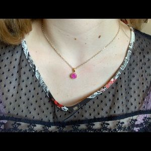 Gold Pink Stone Necklace